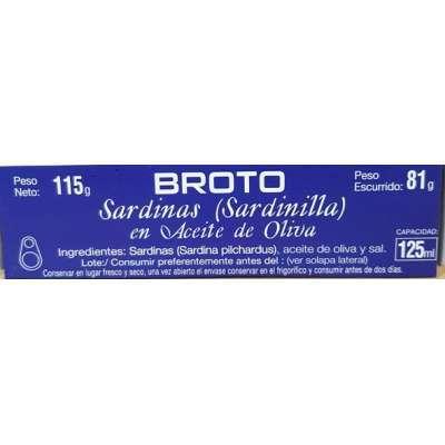 Sardinillas Aceite Oliva 16/20 - Broto -